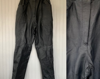 Vintage Size Medium Black Leather Pants High Waisted 28 waist Petite 29 Inseam Western Biker Motorcycle Moto 80s 90s Sexy Lined western