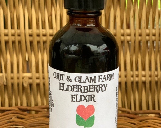 Grit & Glam Farm Grown Elderberry Elixir Immune Support Tonic syrup Natural remedy Cold Flu Relief 4 OZ