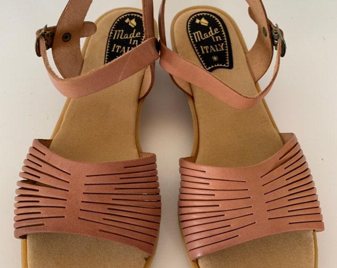 Vintage 70s Deadstock Size 7 Leather Sandals Made in Italy Blush Nude Rose Pink Heel Ankle Strap Mint New Condition Strappy Spring Shoes