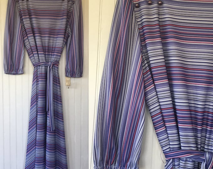 Vintage 70s Medium Blue Red Periwinkle Purple Striped Dress Size 8 10 Seventies 80s Deadstock Wedding Festival Puff Sleeve NWT Med M