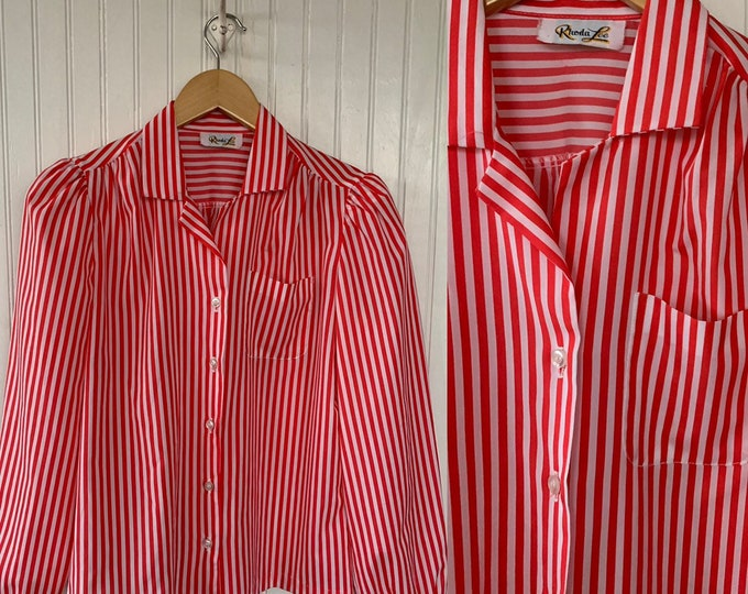 Vintage Red White Striped Button Down Shirt Small Medium S/M Blouse Fits S M Stripes Pin Up Top Candy Cane Stripe