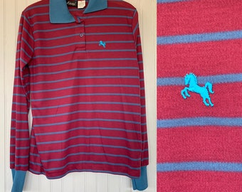 NWT 80s Vintage Blue Dark Red Striped Long Sleeve Polo Shirt Medium Top Deadstock Preppy Eighties Med Small M S/M Horse Logo Maroon