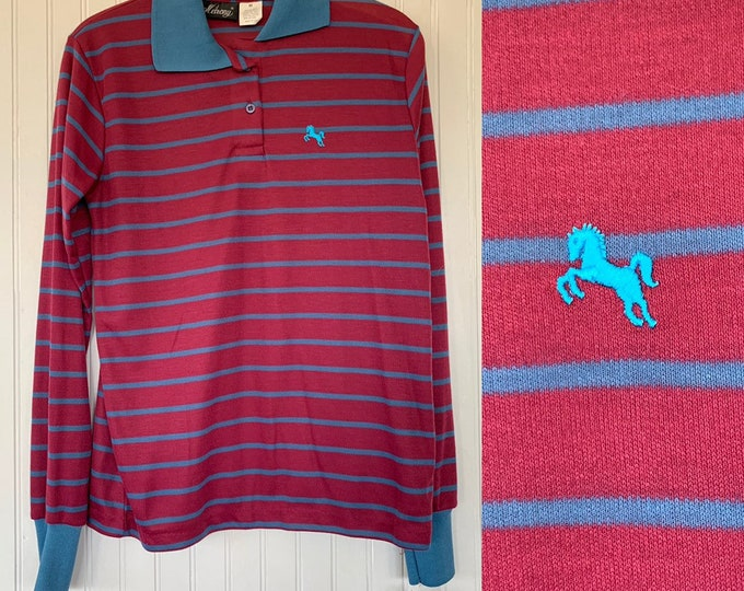 NWT 80s Vintage Garan Blue Dark Red Striped Long Sleeve Polo Shirt Medium Top Deadstock Preppy Eighties Med Small M S/M Horse Logo Maroon