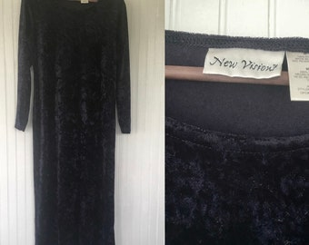 Vintage 90s Dark Purple Velour Maxi Dress Goth Long Sleeve 8 10 Medium Large Dresses Nineties Velvet M L Boho