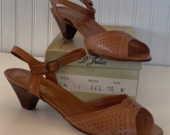 Vintage 70s Deadstock Size 9.5 Wide Width Leather Sandals Brown Low Heel Mint New Condition Spring Shoes D'Julia Brazil 80s 9.5WW 9