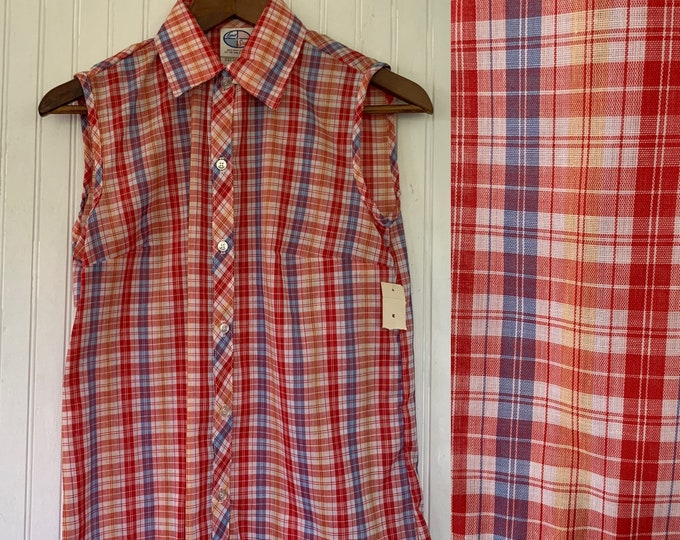 NWT 80s Vintage Plaid Sleeveless Top Size XS Small Red White Blue Yellow Button Down Shirt S XS/S Deadstock Western 70s 32 Blouse