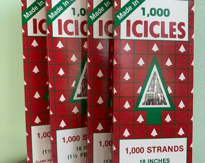 "Vintage 90s Silver Icicles 1000 Strand 18"" 1.5 ft shiny tree trim ornaments decor USA Tinsel Hair Tinsel Christmas decor holiday sparkle"