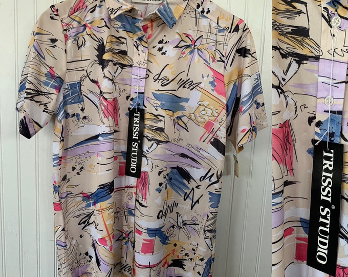 Vintage NWT 80s Vintage Tan Nude Rainbow Pastel Graffiti Fashion Graphic Sketch Short Sleeve Shirt Button Down Small S 38 Deadstock Festival