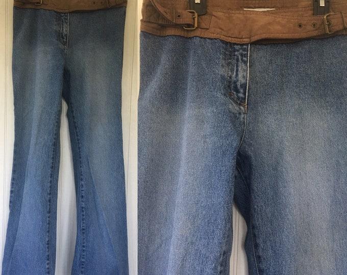 Vintage 90s No Boundaries Size 8 Medium Denim Jeans Faux Suede Trim Vegan Leather Blue Jeans Flare Bell Bottoms Nineties 6 Med Pants