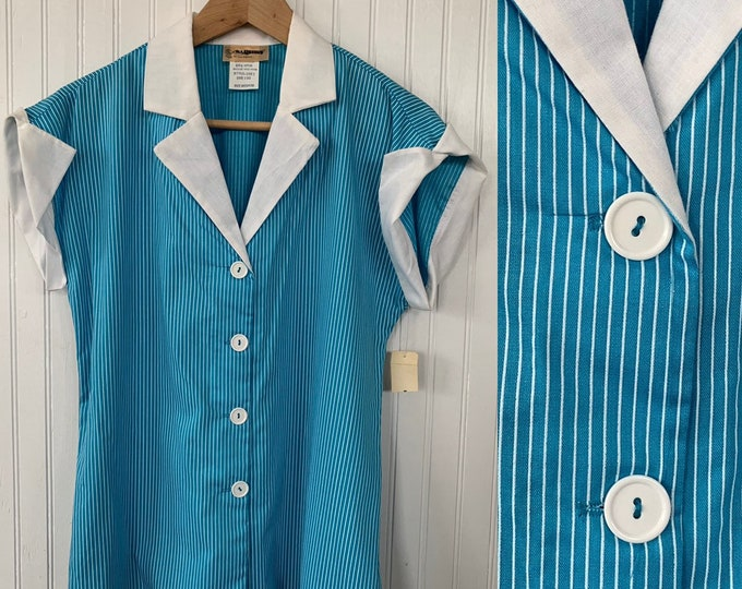 NWT 80s Vintage Turquoise Blue White Striped Sleeveless Top Size Medium Button Down Shirt M Med Stripes Deadstock Western Hipster 70s Gift