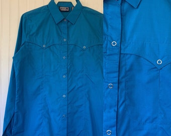Deadstock Vintage Bright Blue Snap Front Long Sleeve Shirt Top Button Down Shirt Medium S M 36 Western Boho snaps Cowgirl