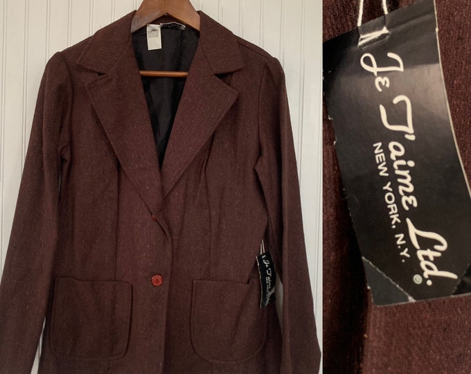NWT Deadstock Vintage 80s Brown Blazer Tweed Jacket Pockets Small S S/M Medium Med 36 Wool Silk Blend Jacket