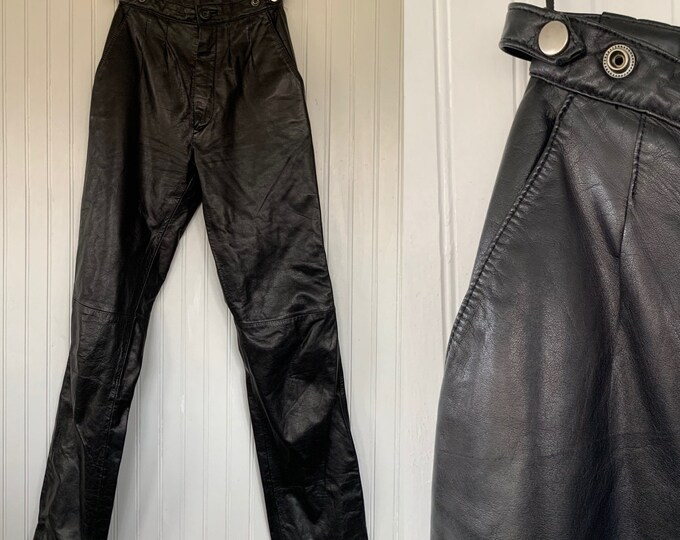 Vintage Size XXS XS Black Leather Pants High Waisted 23 Small Rare Western Biker Motorcycle Moto 80s 90s Sexy Petite Verducci