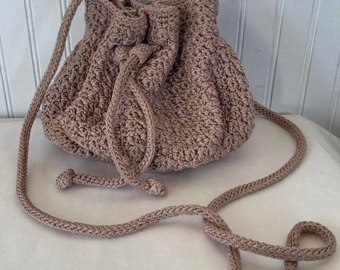 Vintage 90s the sak Crochet Purse Nude Beige Silver Shimmer Festival Hippie Shoulder Bag drawstring Bags Boho Knit Fall