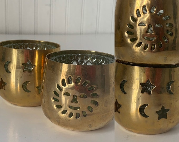Vintage 70s Set of Two Brass Tea Light Candle Holders Sun Moon Stars Bubble Glass Home Decor Wedding Gift NOS Deadstock Astrology Gifts