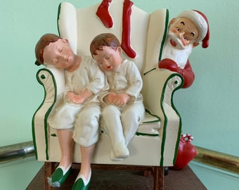 Vintage 80s Norman Rockwell Figurine Santa with Presents and Sleeping Children Kitsch Holiday Decor Americana