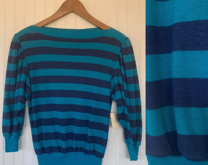 Deadstock Vintage 70s 80s Turquoise Blue Navy Striped Puff Sleeve Top Shirt Medium Med M Eighties Festival 3/4 Sleeves S/M NOS Stripe