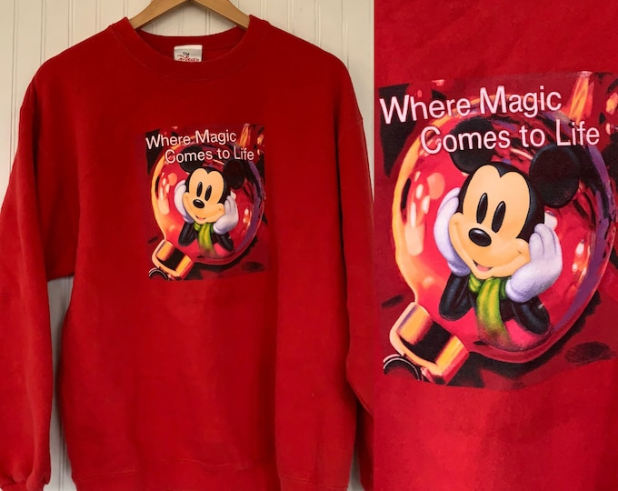Rare S/M Mickey Mouse Vintage 90s Holiday Red Sweatshirt Disney Store Sweat shirt Sweater Unisex Small Medium Magic Christmas XMAS Gift