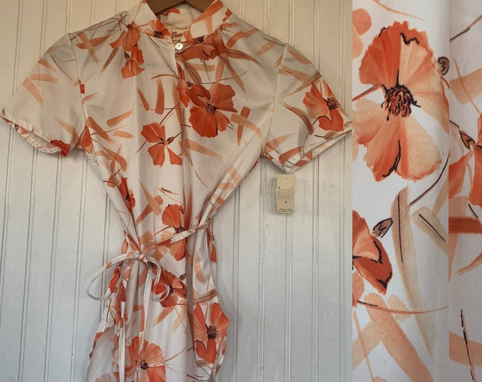 Rare Deadstock 70s Vintage Top Size Large Medium White Peach Orange Floral 80s Keyhole Short Sleeves Shirt Disco Style M/L 36 Summer NOS nwt