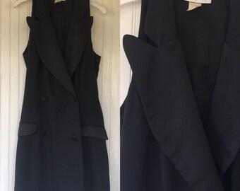 Vintage 90s The Limited Black Tuxedo Style Romper Skort Halter Shorts Size 12 Large Wedding Summer Formal