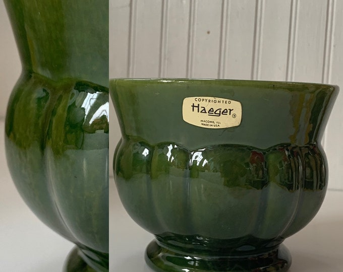 Vintage 60s Haeger Avocado Green Planter Vase Home Decor Wedding Gift Vases Mod Mid Century Indoor Plant Serving Dish
