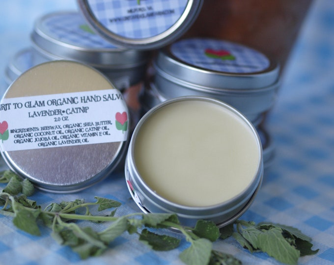 Lavender Catnip Organic Hand Salve Farm Made Magic Balm Great for Lips Hands Cuticles Dry Skin Natural Hair Cruelty Free Beeswax Shea