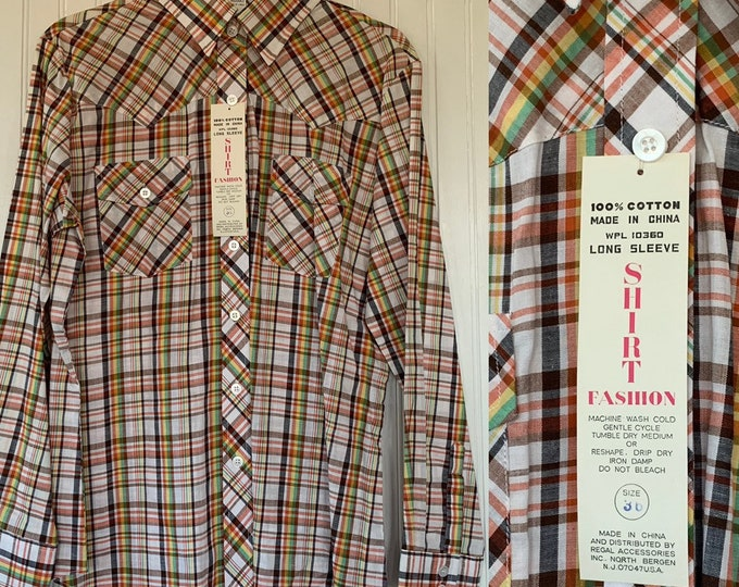 NWT 80s Deadstock Vintage Plaid Long Sleeve Shirt 36 Large Rasta Colors Red Yellow Green Brown Black White Button Down Western NOS Unique