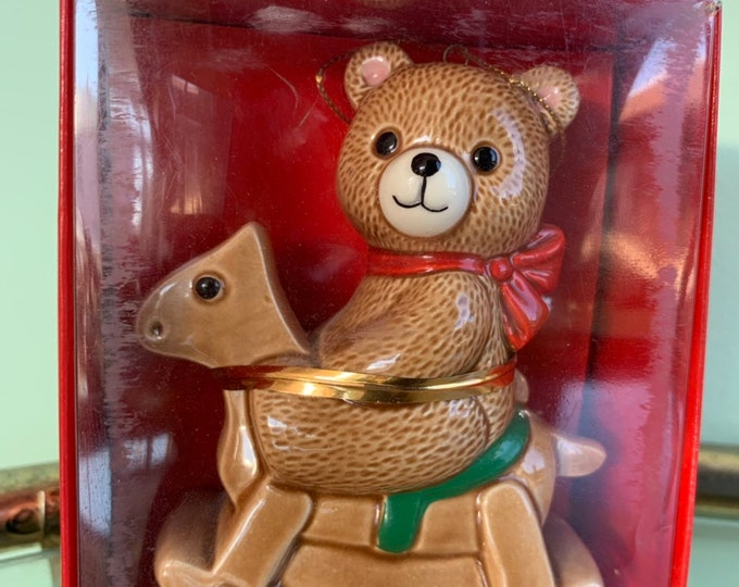 Vintage 80s Ebeling and Reuss Teddy Bear Rocking Horse Ornament First Christmas 1985 New in Box Kitsch Holiday Ornaments Gifts Japan