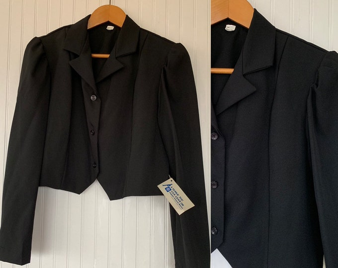 NWT Vintage 80s Black Cropped Blazer Puff Sleeves Large L LG Deadstock Goth Pinup Crop Jacket