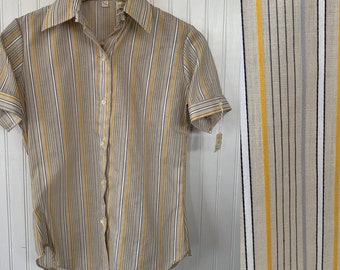Vintage NWT 80s Vintage Beige Nude White Black Yellow Skinny Stripe Short Sleeve Shirt Button Down Stripes Small XS 34 Deadstock Festival