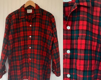 50s Vintage Holiday Wool Plaid Shirt Long Sleeve Top Red Green Black Button Down Larfe LG Western Hipster Gift Christmas Shirts L 16 Xmas