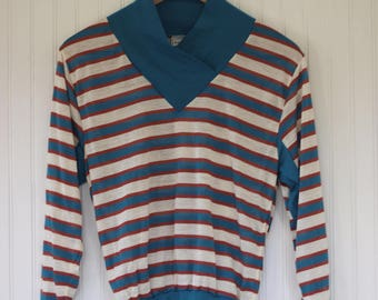 Vintage 70s 80s Ruth Horizontal Striped Long Sleeve Top / Shirt - Teal Orange  - Size Small - New With Tags from 1979 Sportswear