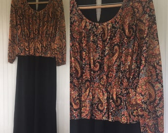 Vintage Boho 70s Paisley and Black Maxi Dress Festival Bohemian Sheer Peasant Sleeves Dresses M/L Large 8 10 12 14 Bleeker Street