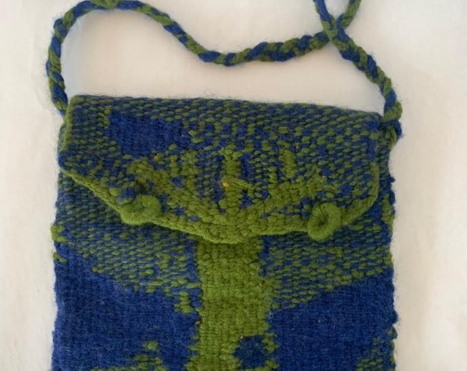 Vintage 70s Blue Green Knit Tree Shoulder Bag Bags Purse Hiopie Festival Tree of Life Boho Fall Wool
