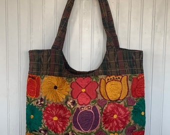 Vintage Plaid Floral Embroidered Shoulder Bag Bags Purse Fall Hippie Boho Rust Mustard Purple Red Tote Travel