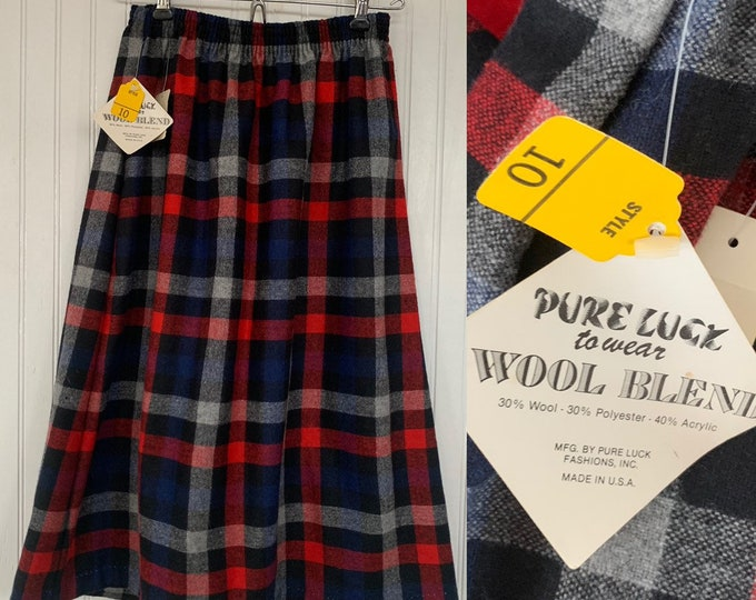 Vintage Deadstock 80s XXS Plaid Skirt Black Blue Red Gray Stripe Below Knee Elastic Waist Boho 70s XS 24
