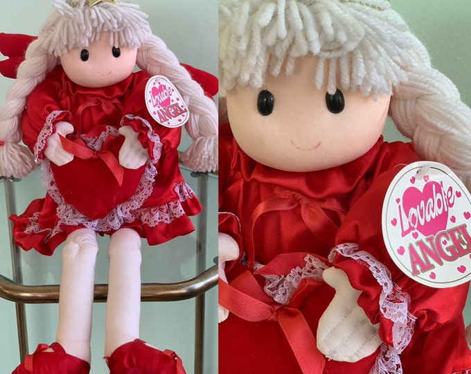 Vintage 90s Loveable Angel Doll Plush Holiday Dolls Girls Gift Original Tags Valentine Christmas