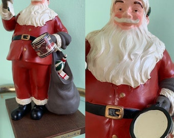 Vintage 80s Norman Rockwell Figurine Santa with Presents and Stocking Drum Kitsch Holiday Decor Americana Gifts