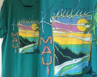 Rare Vintage 80s Hawaii Kahului Maui Tee Shirt Green Large LG T-Shirt Worn In Thin Palm Trees Surfer Hawaiian Beach