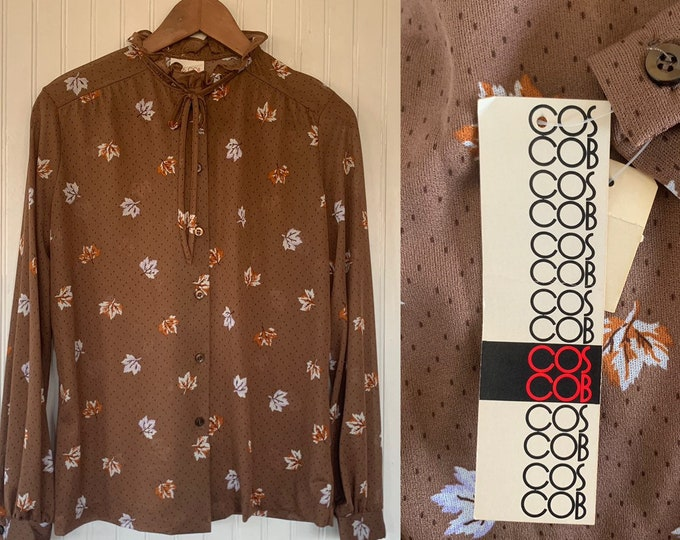 Vintage Deadstock 80s Large Brown Fall Leaves Earth Tones Sheer Ruffle Neck Long Sleeve Shirt Button Down Blouse 40 LG L M/L Medium M Bow