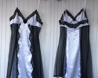 Vintage 90s Fredericks of Hollywood Nightie Slip Black Lace White Satin Size XS Sheer Panels Sexy Lingerie Negligee Nineties Grunge
