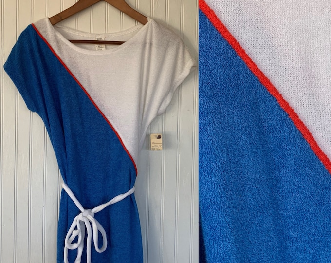 Vintage 80s XS Red White Blue Terry Cloth Small Tunic Small Tee Shirt Belt Deadstock Eighties Terrycloth Tennis Spring Summer