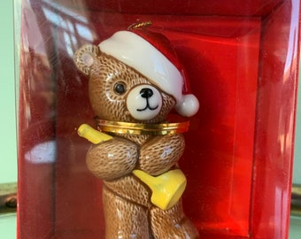 Vintage 80s Ebeling and Reuss Teddy Bear Horn Ornament First Christmas 1985 New in Box Kitsch Holiday Ornaments Gifts Japan