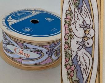 Deadstock Vintage 80s Offray Doves Ribbon Blue White Pink Print 15 ft NOS Trim Pastel Wedding Lovebirds Baby Gift Wrap Spring Wreath Easter