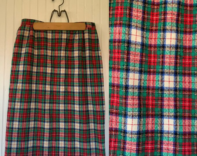 Vintage 70s Pendleton Red Green White Plaid Tartan Wool Skirt Below the Knee VTG Seventies Holiday Dance Party Christmas Large 30 L M/L