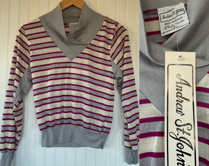Vintage 70s Small Striped Long Sleeve Top / Shirt Magenta Grey White Stripes XS S XS/S Sportswear Deadstock Comfy Basics