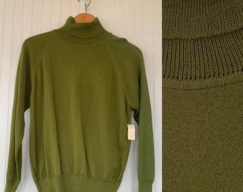 NWT Vintage 80s Large Olive Green Turtleneck Pullover Knit Sweater Deadstock 70s nos Moss Textured Sheer Boho Tops L M/L Med