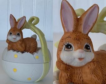 Vintage 80s Kitsch Easter Egg Bunny Ceramic Keepsake Box Figurine Rabbit Lefton Yellow Bow Miniature Jewelry  Boxes Basket Baby Gift Decor
