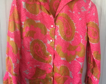 So Groovy Vintage 70's S M Neon Paisley Pink Lime Green Brown and White Blouse Shirt Button Down Long Sleeved Fits Small Medium Disco Style