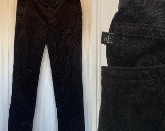 Vintage 90s size 8P Lauren Ralph Lauren Paisley Velvet Stretch Black Jeans Boho Printed Jeans 30 Nineties 8 Petite Pants